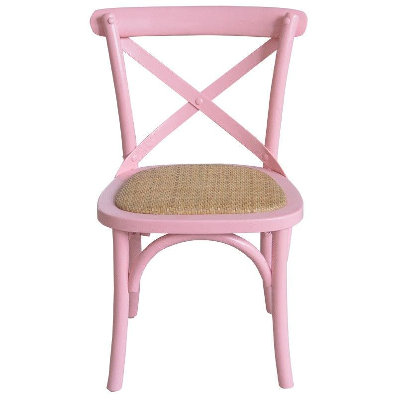 Kasan Oak Timber Cross Back Kids Chair with Rattan Seat, Pink