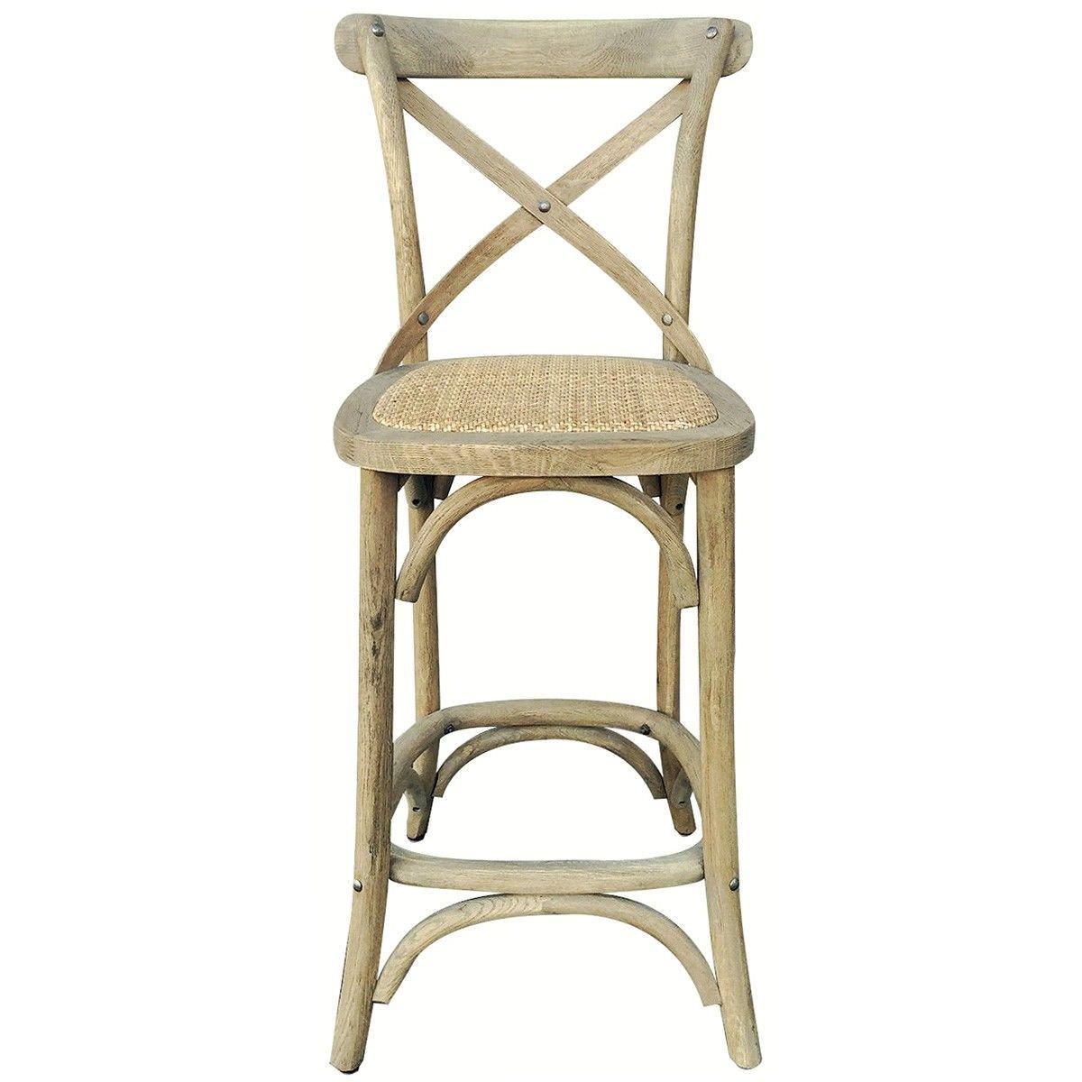 kasan oak timber cross back counter stool with rattan seat