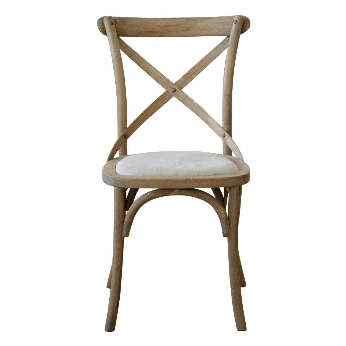 Kasan Oak Timber Cross Back Dining Chair with Linen Seat, Weathered Oak