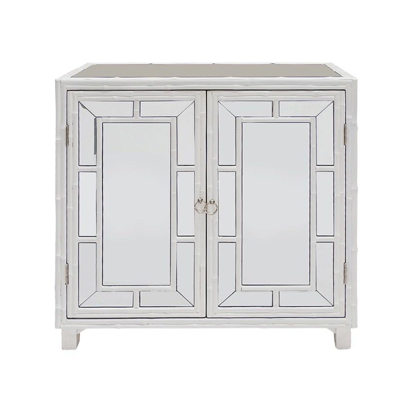 Boyd Mirror & Bamboo 2 Door Cabinet 2 Door, White