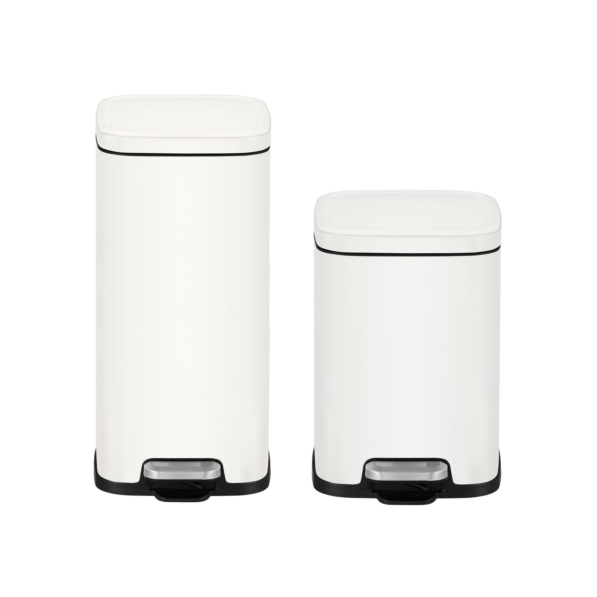 EKO Stella 2 Piece Stainless Steel Pedal Waste Bin Set, 30/6 Litre