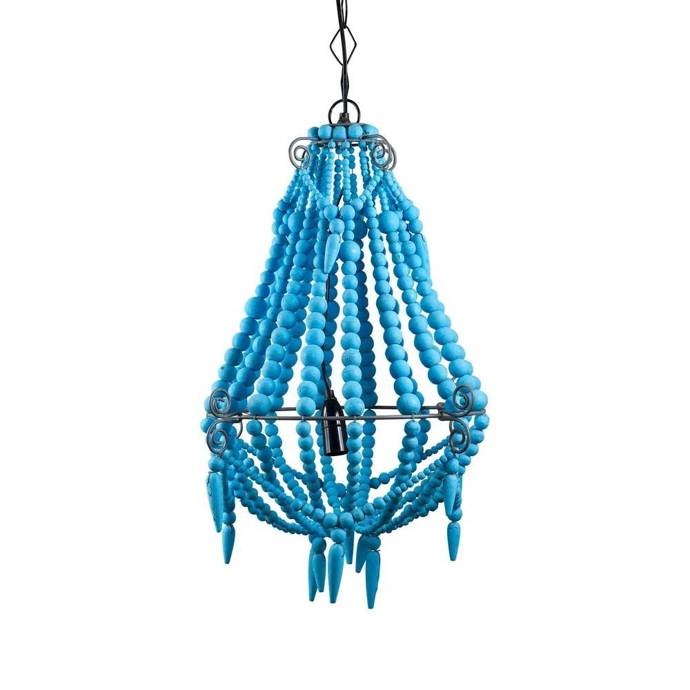 Palmira Wooden Beaded Pendant Light, Small, Turquoise