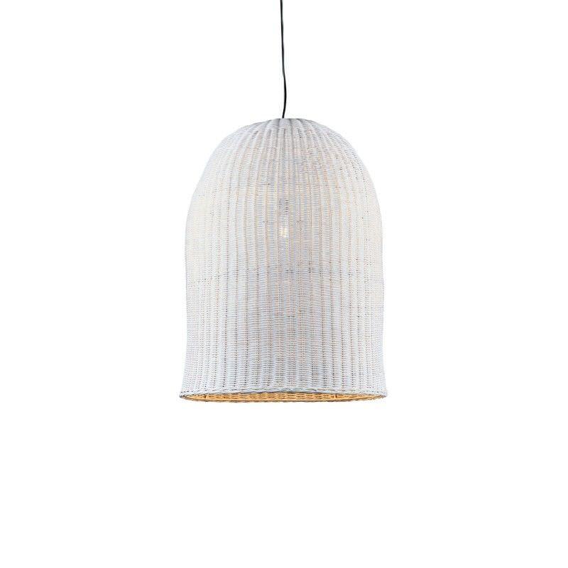 Bowerbird Rattan Pendant Light, Large, White