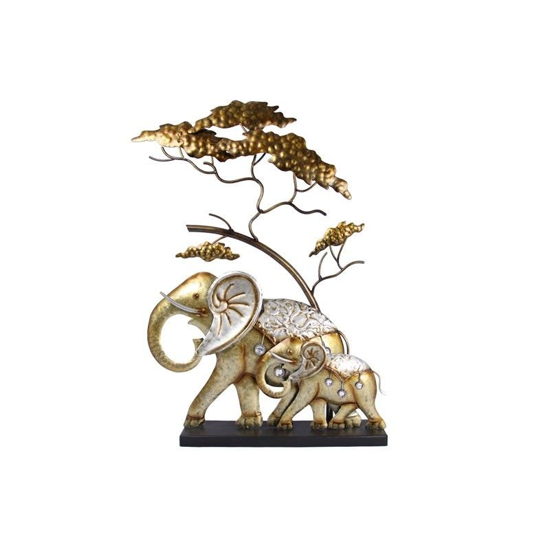 Gold Metal Elephant With Baby Art