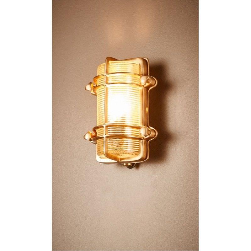 Harley Metal & Glass Bunker Wall Light, Antique Brass
