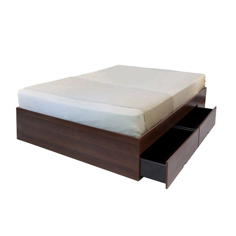 Emmas Amelia Platform Bed Base with Side Drawers, Queen, Walnut