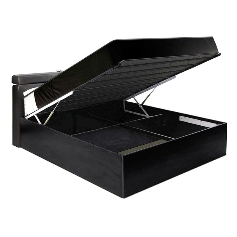 Emmas Concord Queen Size Platform Bed with Gas Lift Storage - Black