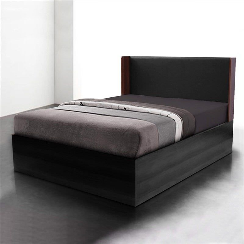 Emmas Lux Queen Size Platform Bed - Walnut/Black