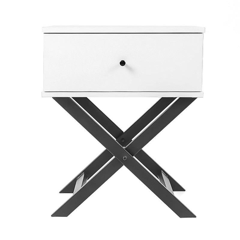 Minya Bedside Table, White / Black