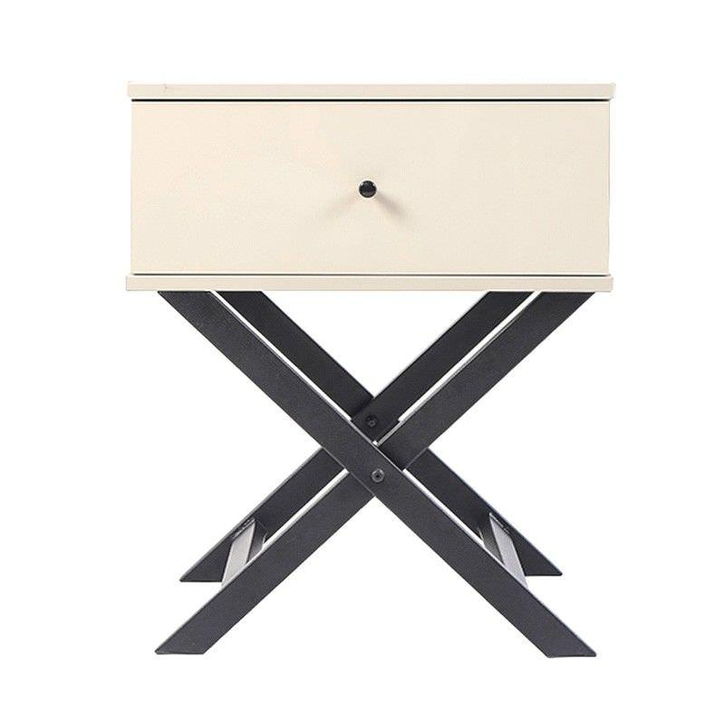 Minya Bedside Table, Cream / Black
