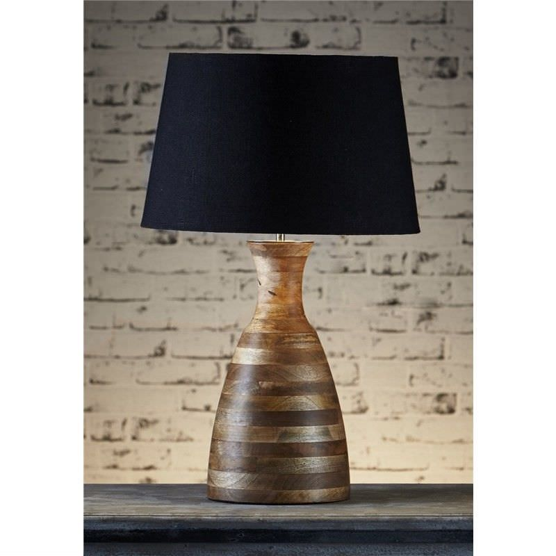 Singelton Wooden Table Lamp with Black Linen Shade