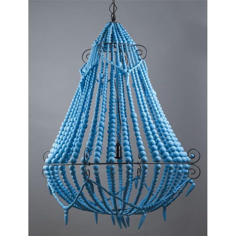 Palmira Wooden Beaded Pendant Light, Large, Turquoise