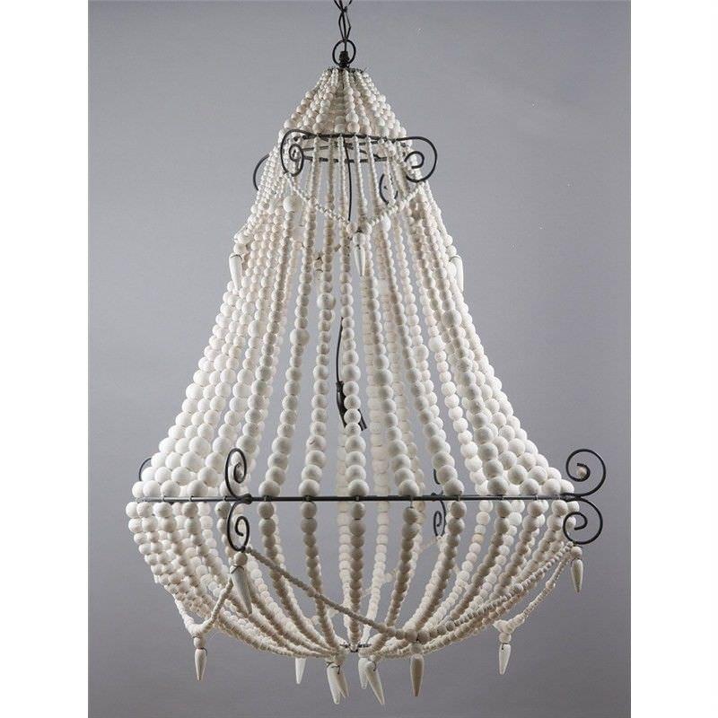 Palmira Wooden Beaded Pendant Light, Large, White