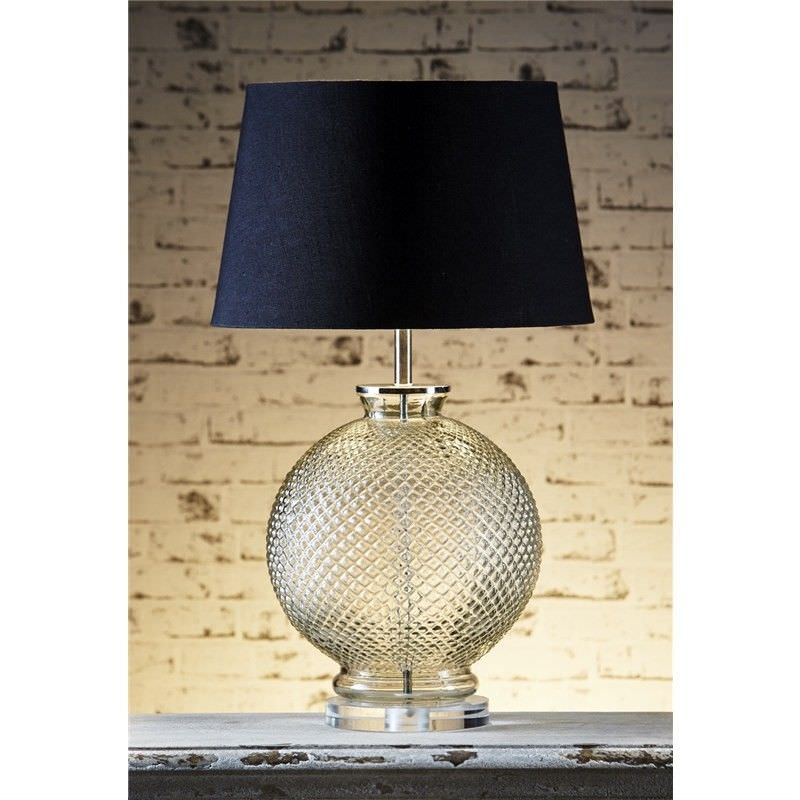 Isabella Embossed Glass Table Lamp with Black Linen Shade