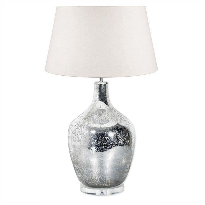 Fortuna Large Mercury Glass Bottle Table Lamp with Ivory Linen Shade