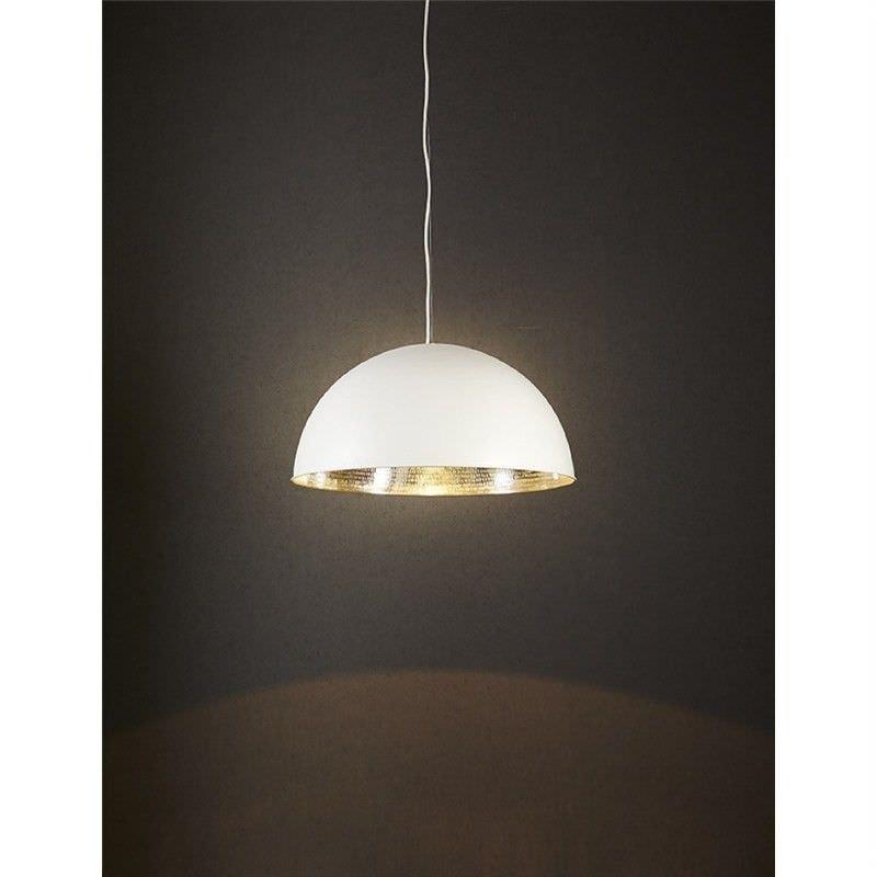 Alfresco Metal Dome Pendant Light - White/Silver