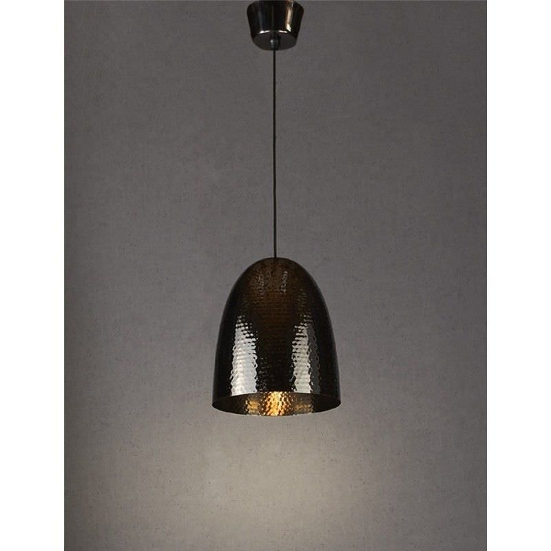 Dolce Hammered Metal Pendant Light, Charcoal