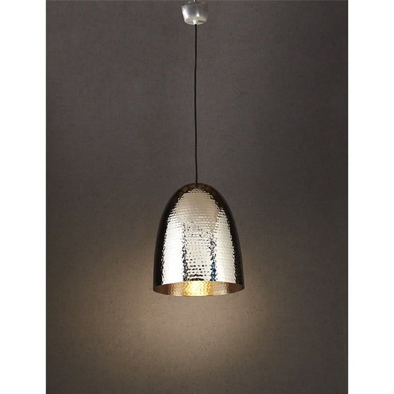 Dolce Hammered Metal Pendant Light, Silver