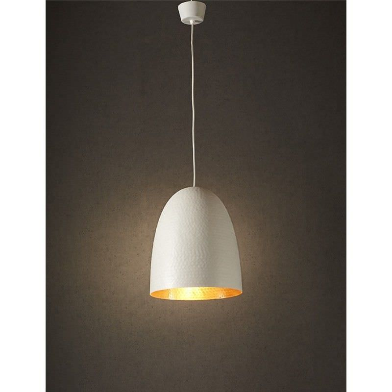 Dolce Hammered Metal Pendant Light, White/Copper