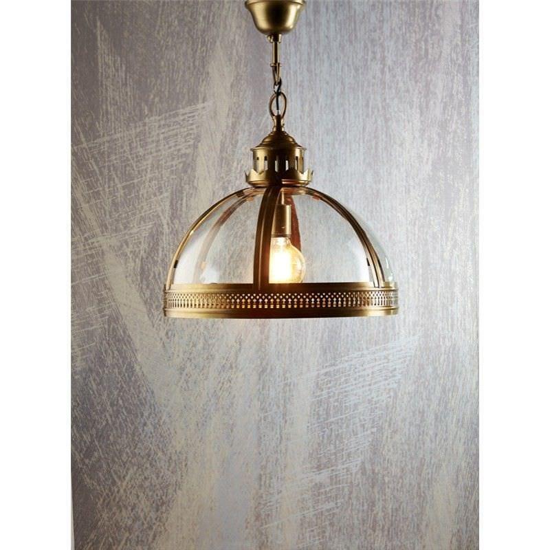 Winston Metal & Glass Pendant Light, Large, Antique Brass