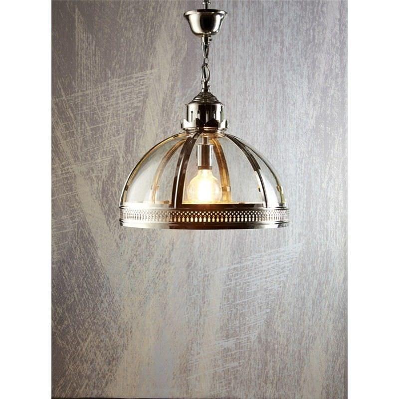 Winston Metal & Glass Pendant Light, Large, Shiny Nickel