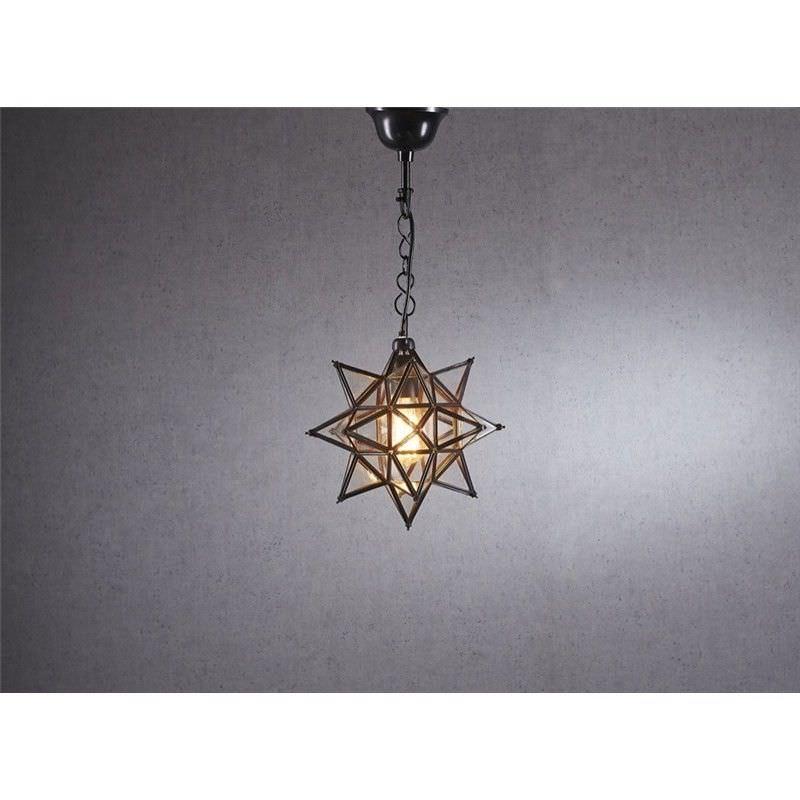 Star Small Metal & Glass Pendant Light - Bronze