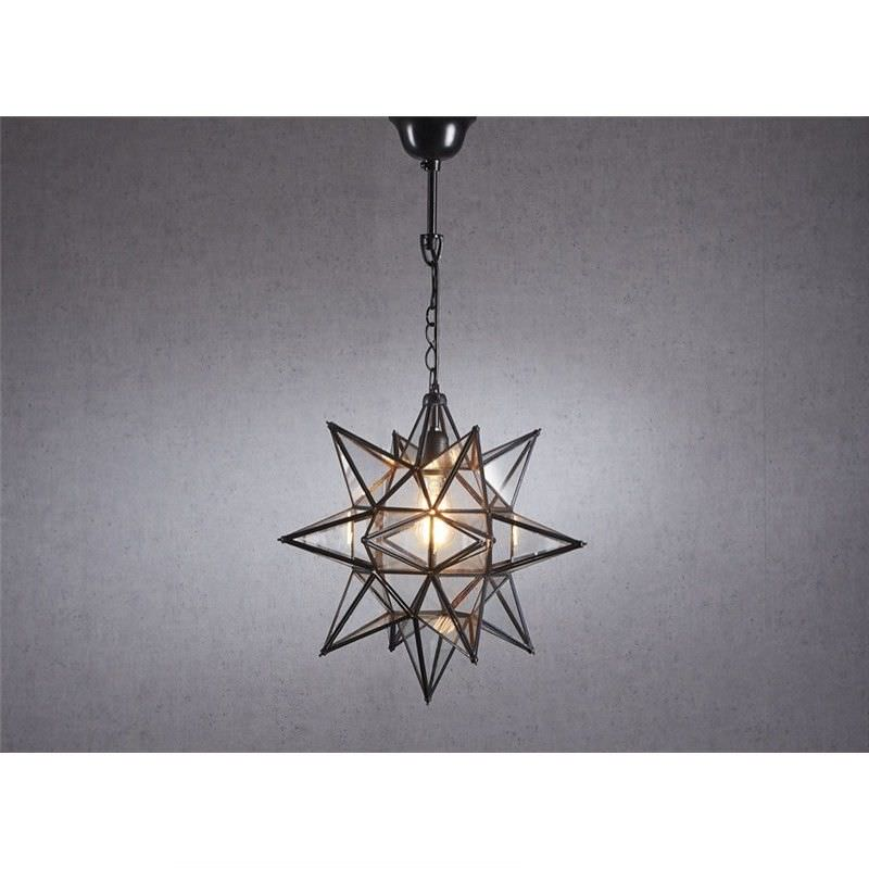 Star Large Metal & Glass Pendant Light - Bronze