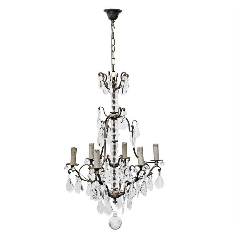 Roche Cast Iron & Crystal Baroque Chandelier
