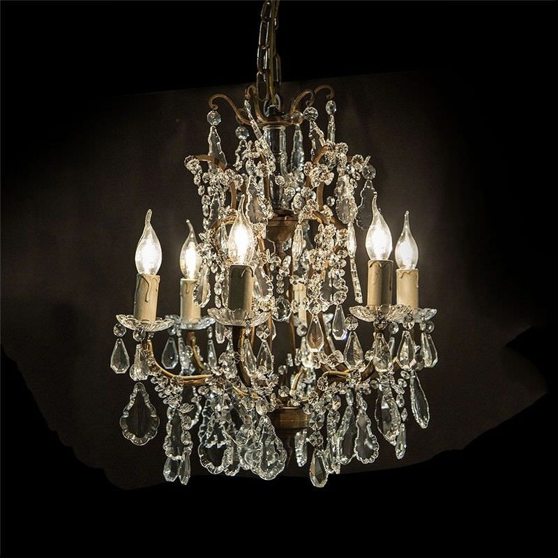 Chantilly Metal 6 Arm Chandelier with Cut Glass Droplets