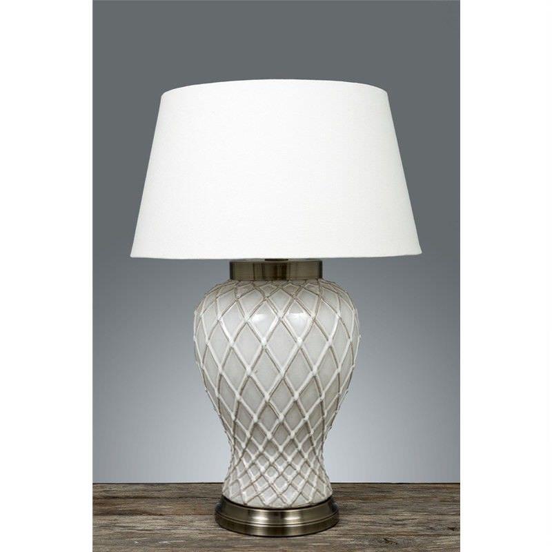 Berkley Ceramic Table Lamp with Ivory Linen Shade