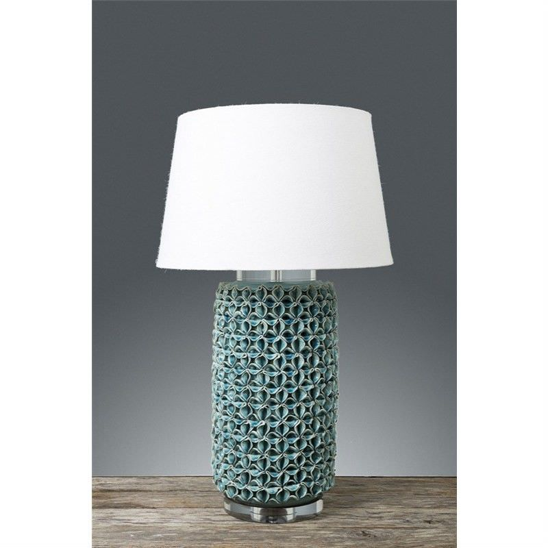 Newlands Ceramic Table Table Lamp with Ivory Linen Shade - Turquoise Blue