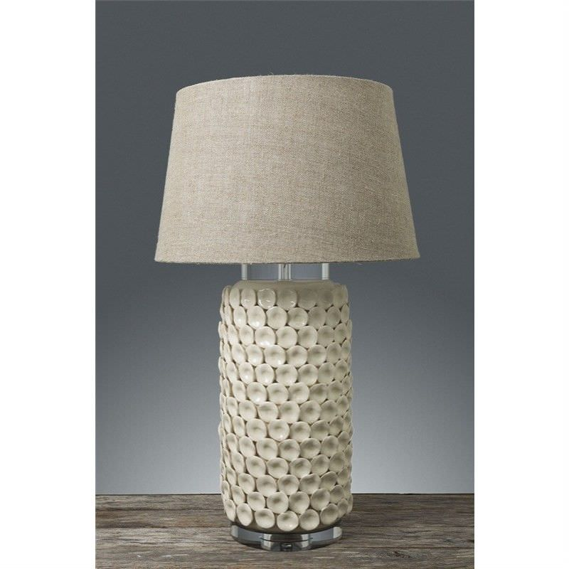 Kenilworth Ceramic Table Lamp with Natural Linen Shade - Cream