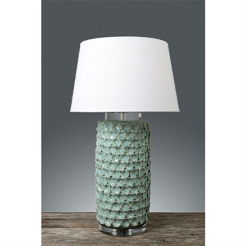 Kenilworth Ceramic Table Lamp with Ivory Linen Shade - Turquoise
