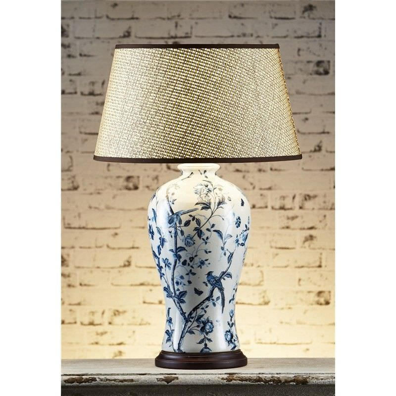 Ashleigh Ceramic Table Lamp with Basket Woven Shade