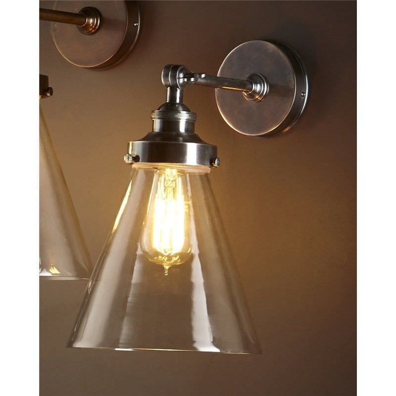 Francis Metal & Glass Wall Light - Antique Silver