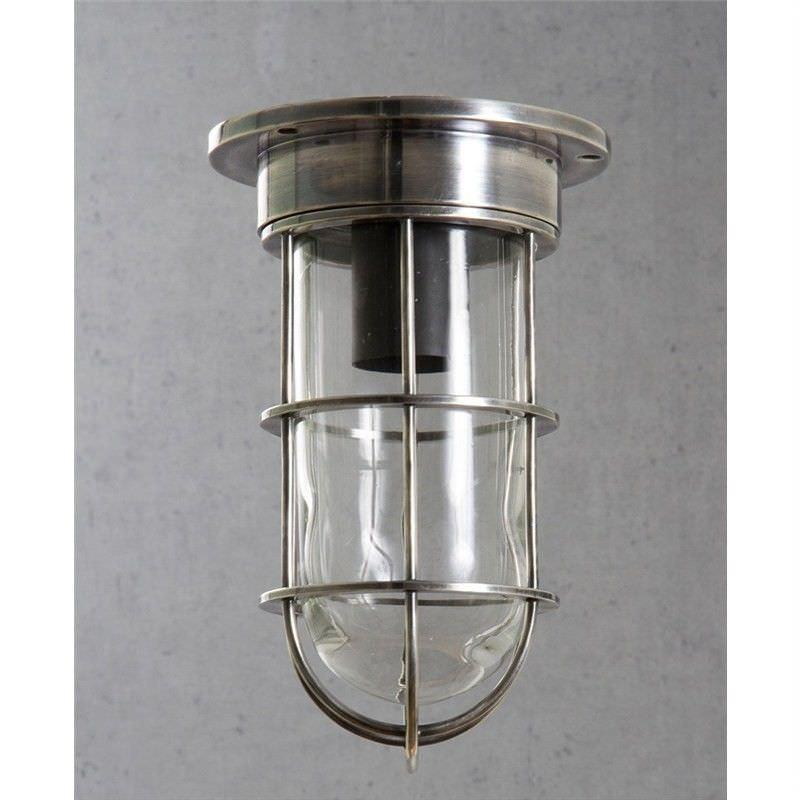 Emerald IP54 Outdoor Metal Bunker Ceiling Lamp - Antique Silver