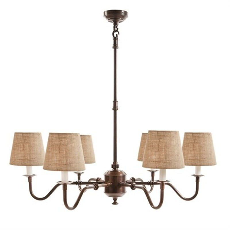 Prescot Metal 6 Arm Chandelier with Linen Shades - Natural / Copper