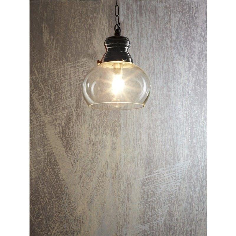 Paddington Glass Pendant Light, Small, Antique Silver