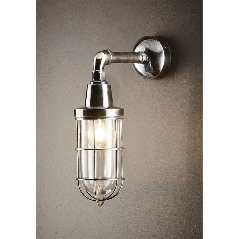 Starboard IP54 Outdoor Metal Bunker Wall Sconce, Antique Silver