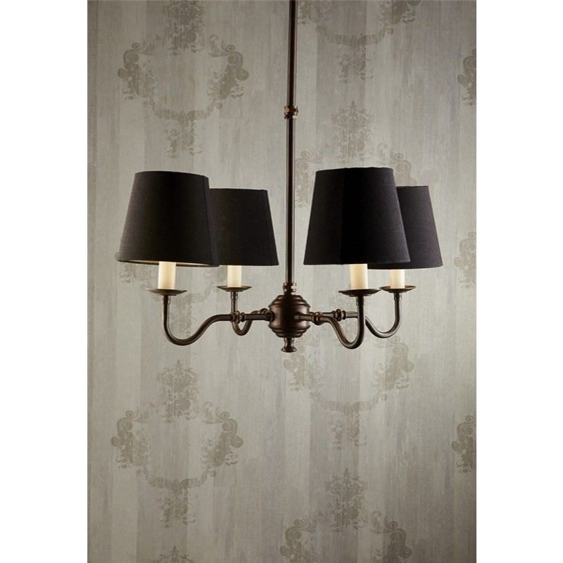 Milton Metal 4 Arm Chandelier with Linen Shades - Black / Copper