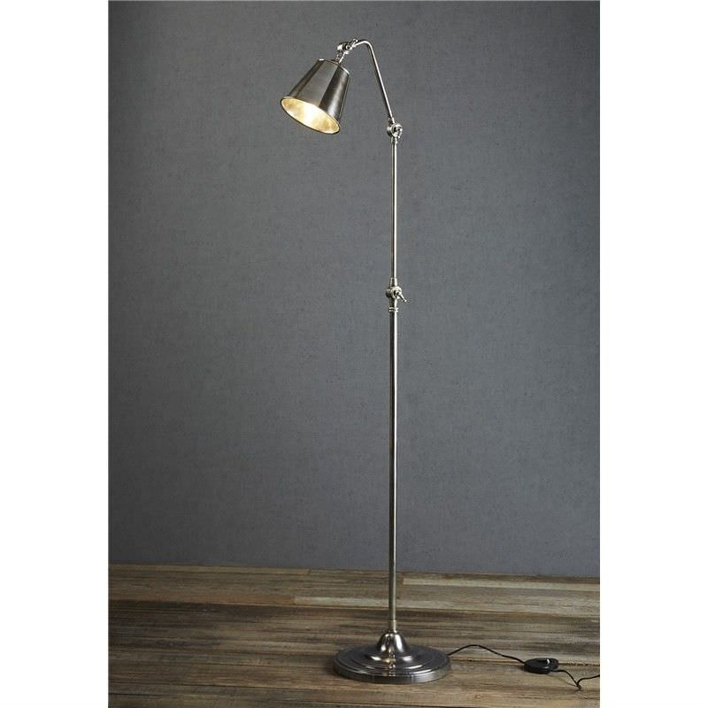 Cromwell Adjustable Metal Floor Lamp Antique Silver