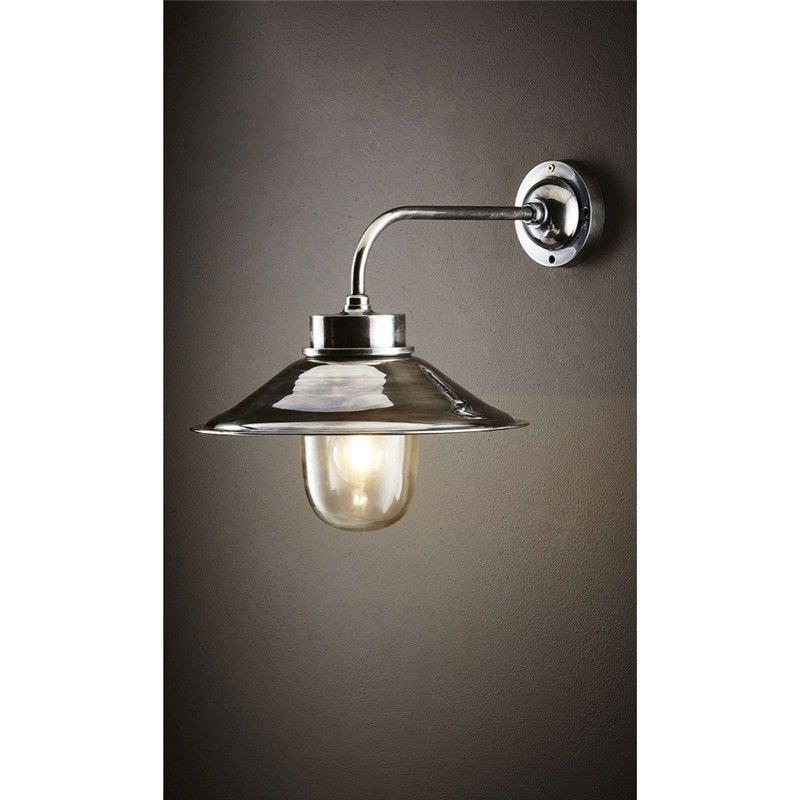 Sandhurst IP54 Retro Outdoor Metal & Glass Wall Light, Antique Silver
