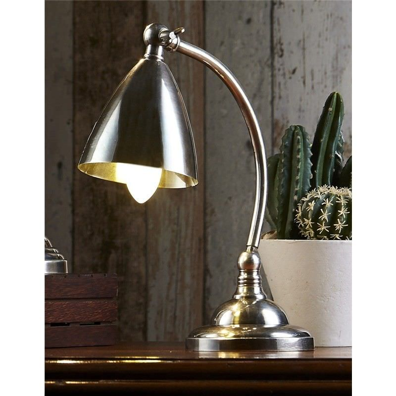 Brentwood Industrial Metal Table Lamp - Antique Silver