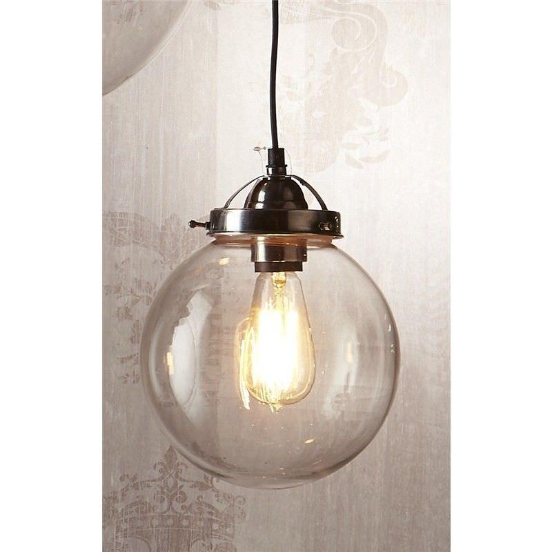 Celeste Glass Ball Pendant Light, Small, Antique Silver