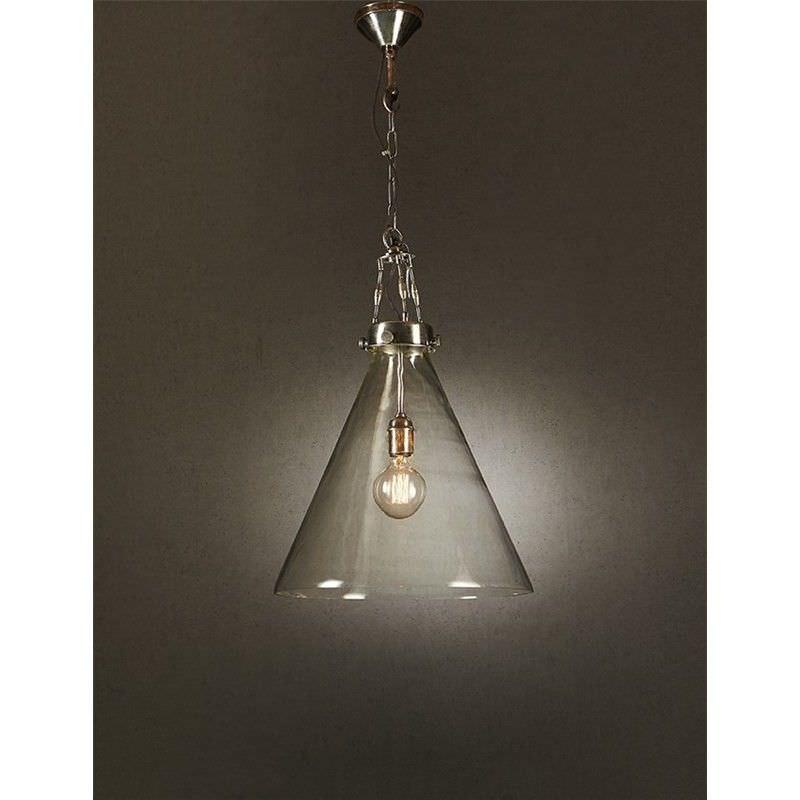 Gadsden Glass Pendant Light, Large, Antique Silver / Clear