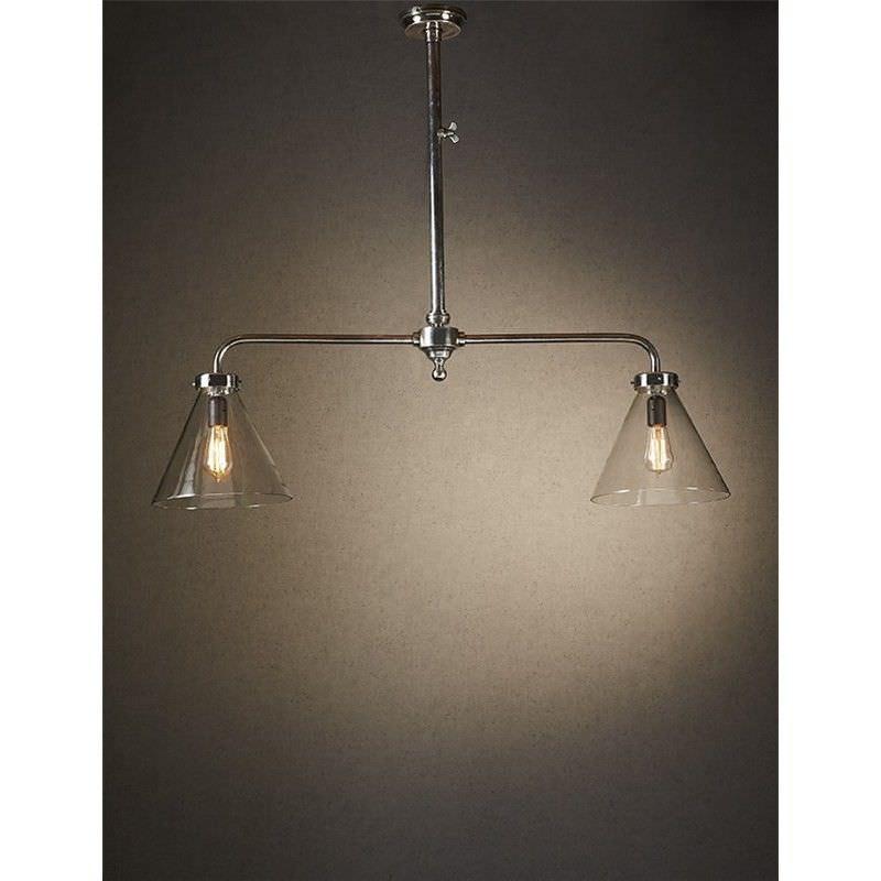 Gadsden 2 Arm Brass & Glass Pendant Light