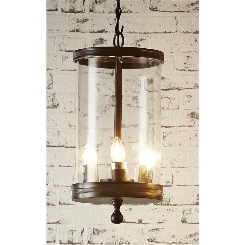 Carnaby Steel and Glass Cylinder Pendant Light - Bronze