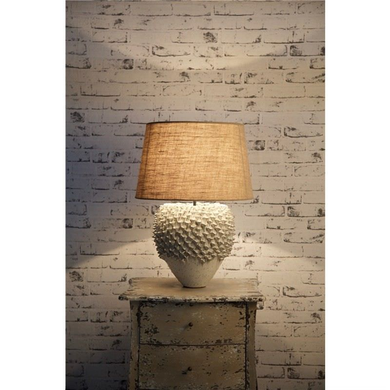 Warwick Ceramic Coral Table Lamp with Natural Linen Shade