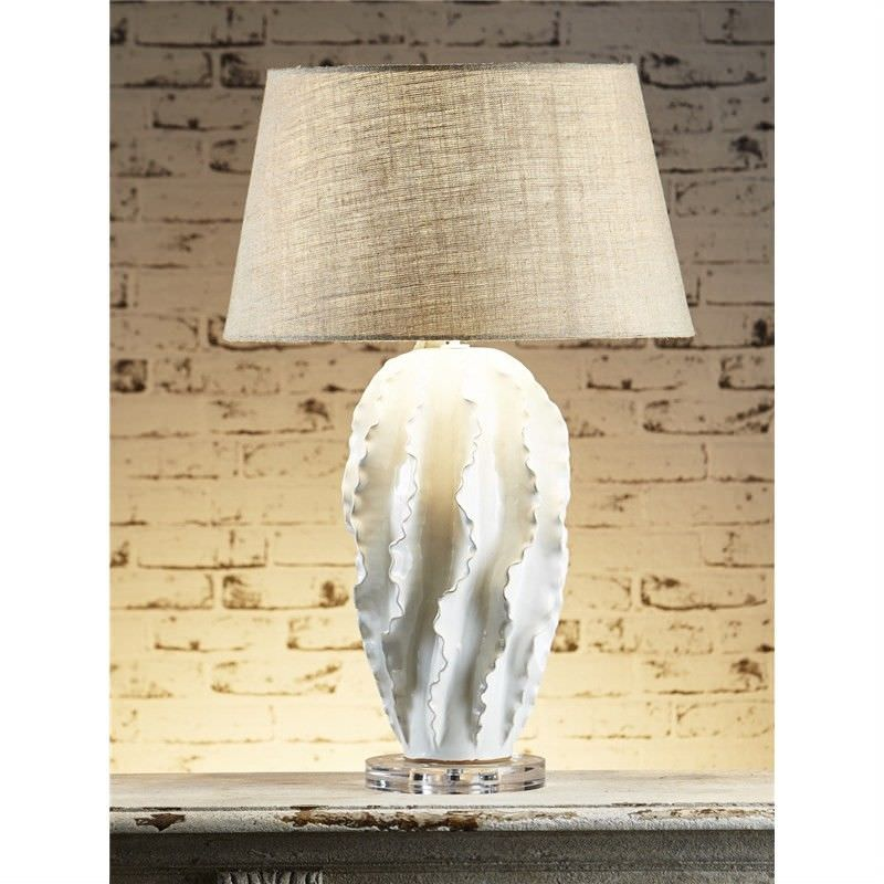 Longchamp Ceramic Coral Table Lamp with Natural Linen Shade