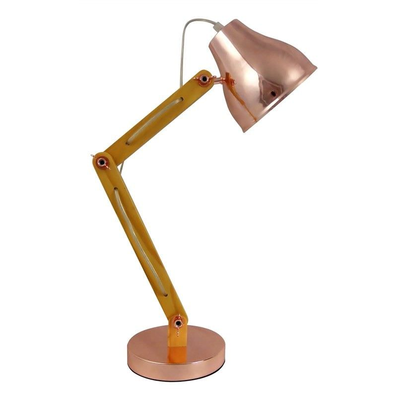 Wattle Wooden Arm Table Lamp, Rose Gold